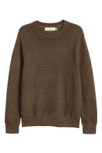 Rib-knit Cotton Sweater - Khaki green - Men | H&M CA 2